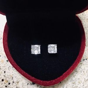 Sterling Silver Asscher Cut CZ Earrings